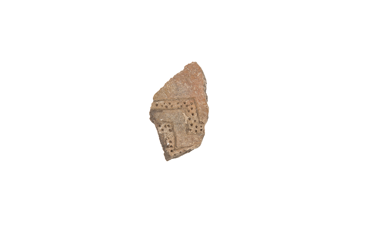 Fragment of wall decorated with meander pattern, Pulo, Mirror, Bronze Age/ Appenninica