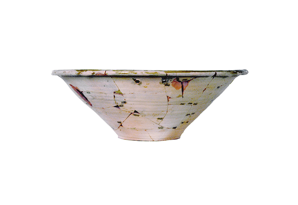 Glazed monochrome and carved basin, Pulo, external II Canopy, 18-19th cent.